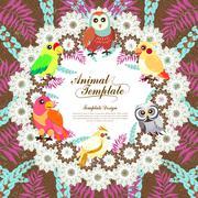 gorgeous birds template - stock illustration