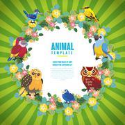 Gorgeous birds template Stock Illustration