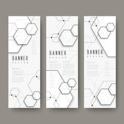 Simplicity hexagon element banners set Stock Illustration
