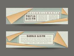 Elegant paper folded style banners set Stock Illustration