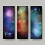 Gorgeous sparkling banners set Stock Illustration