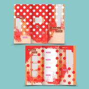 adorable tri-fold brochure design - stock illustration
