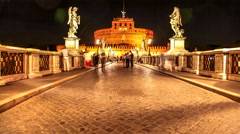Castel Sant Angelo night Stock Footage