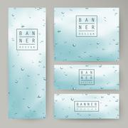 Elegant water drops on window glass concept banners Piirros