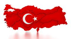 Map of Turkey covered with Turkish flag texture. 3D illustration Stock Illustration