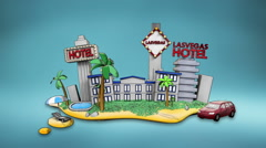 Holiday of Lasvagas hotel, icon, casino, swimming, tour. illustration style Stock Footage