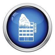 Hotel building in fire icon - stock illustration