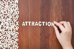 Word attraction made with block wooden letters - stock photo