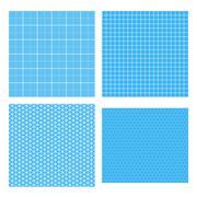 Set of four white geometric grids on cyan Stock Illustration