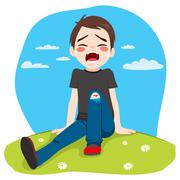 Boy Crying Hurt Stock Illustration