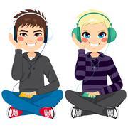 Boys With Headphones Sitting Stock Illustration