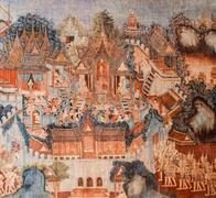 Ancient Buddhist temple mural painting in Thailand Stock Photos
