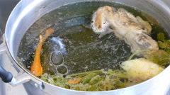 4K Footage of Close up hot Chicken stock on fire Stock Footage