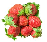 Heap of red ripe strawberry isolated - stock photo