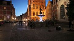 Long Market in City of Gdansk at Night Stock Footage