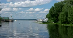 A fishing settlement on the banks of the river Trubezh, Pereslavl-Zalessky Stock Footage
