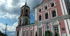 Wondrous window bas-reliefs, the Orthodox Church with a high bell tower Stock Footage