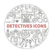 Detective flat icons Stock Illustration