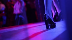 Close-up of female feet in shoes. Girls dance on stage Stock Footage