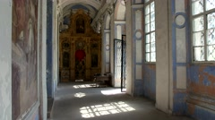 Ancient carved iconostasis, the Holy altar within the Cathedral Stock Footage