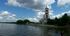 The Church of the Forty martyrs of Sebaste, Plescheevo lake Stock Footage