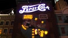 Retro Neon Pepsi Cola Advertising Sign - Las Vegas Stock Footage