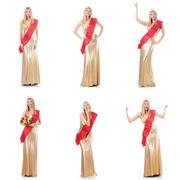 Beauty queen at contest isolated on white Stock Photos