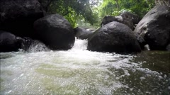Underwater in Khao Cha Mao Waterfall at Rayong Thailand Stock Footage