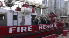 Fire rescue boat at Harbourfront, Toronto, Canada Stock Footage