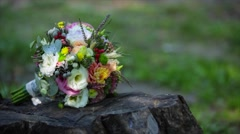 Wedding bouquet on the stump Stock Footage