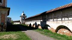 Guard towers, ancient walls, Uspensky Goritsky monastery, Museum-reserve. Stock Footage