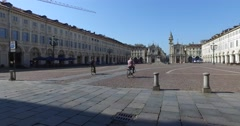 Piazza San Carlo is one of the main city squares in Turin, Italy. Stock Footage