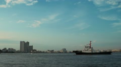 Yokohama - View of bay with boats in evening light. 4K Stock Footage