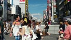 Osaka - People walking on Ebisu Bridge. Dotonbori. 4K resolution Stock Footage