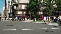 Osaka - Street view with people and traffic. Namba. 4K resolution Stock Footage