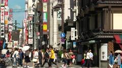 Osaka - July 2016: Street view with people. Namba. 4K resolution Stock Footage