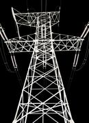 High voltage power lines and pylon on a black background. Stock Illustration