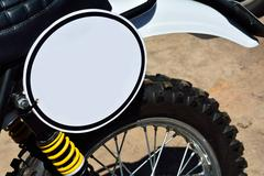 Close-up of motorbike with round white blank space Stock Photos