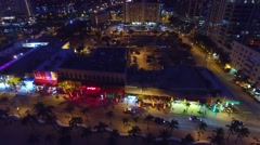 Fort Lauderdale at night, aerial view Stock Footage