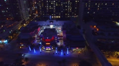 Fort Lauderdale skyline at night, aerial view Stock Footage