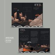 Futuristic tri-fold brochure with abstract city scenery Piirros