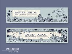 graceful banner design with butterflies - stock illustration