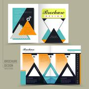 Attractive half-fold brochure design with triangle elements Stock Illustration