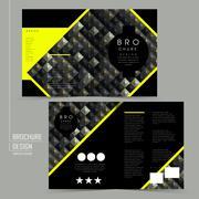 Luxurious half-fold brochure template design Stock Illustration