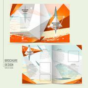 trendy half-fold template design - stock illustration