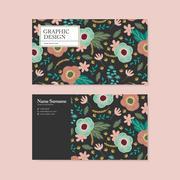 adorable business card design - stock illustration