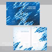 high-tech half-fold brochure template design - stock illustration