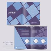 Simplicity half-fold brochure template design Stock Illustration