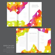 attractive tri-fold brochure template design - stock illustration