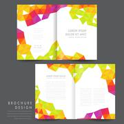 attractive half-fold brochure template design - stock illustration